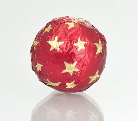 Fólia na truffle červená s hviezdičkami