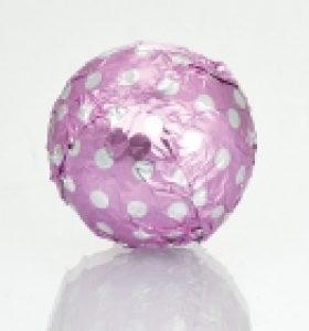 Fólia na truffle ružová s bodkami